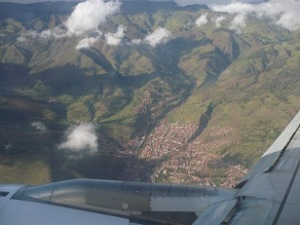 In flight above Cuzco, Peru in the Andes Mountains