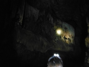 Limestone formation in the shape of a beastly head illuminated by a headlamp, Barton Creek Cave, Belize, June 9, 2013