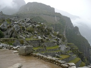 Quarry, Machu Picchu, Peru: sky and clouds meet mountain and earth