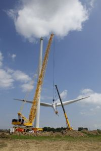 One of the towers being erected at one of the wind farms I worked.
